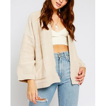 Open Knit Cardigan with Pockets and Fluted Sleeves in More Colors