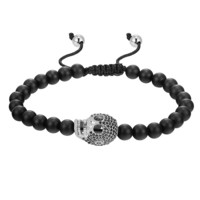 Matte Black Bead Ball Bracelet Iced Out Skull Skeleton Head Black Lab Diamonds Charm