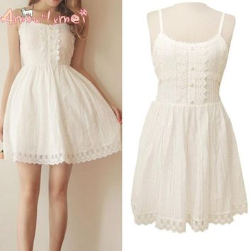 Amourlymei Summer Women Dress Japanese Style Mori Girl Small Fresh White Cotton Lace Spaghetti Strap Dress Kawaii Lolita Dress