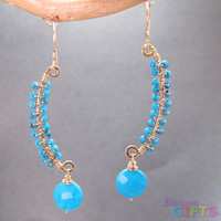 """Wired sticks wrapped with sleeping beauty turquoise, 1-1/2"""" Earring Gold Or Silver"""