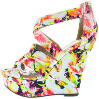 FINDER349 MINT FLORAL STRAPPY PEEP TOE WEDGE