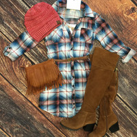 You Plaid me at Hello Belted Tunic: Blue/Rose