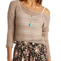 OPEN KNIT CROPPED HI-LO TOP