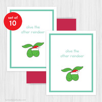 Christmas Card Set Holiday Cards Funny Cute Humor Reindeer Pun Fun Happy Holidays Xmas Handmade Greeting Friend Gifts Boxed Set Pack of