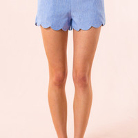 Key West Scalloped Shorts in Blue