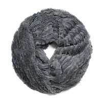 Faux Fur Infinity Scarf - Charcoal