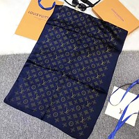 LV Louis Vuitton New fashion monogram print scarf women Blue