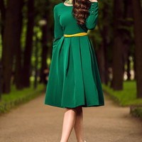 Green Dress Midi, casual dresses, long sleeve dress, suiting fabric , bodycon midi dress, trendy womens clothing, spring, autumn dress