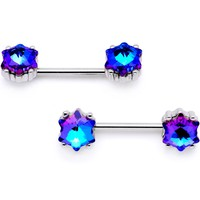 "9/16"" Blue Gem Supernova Barbell Nipple Ring Set"