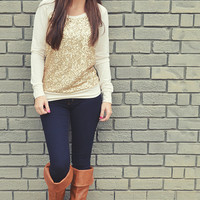 Light Of My Life Sweater: Ivory/Gold