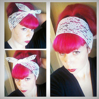 White Lace WIDE Headwrap Bandana Hair Bow Tie 1950s Vintage Style - Rockabilly - Pin Up - For Women, Teens