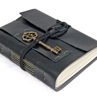 Black Vegan Faux Leather Journal with Key Bookmark