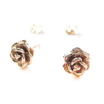 Small Textured Floral Rose Stud Earrings in Rose Gold | DOTOLY