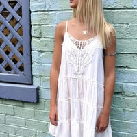 Chestertown Lace Tiered Off White Tank Dress