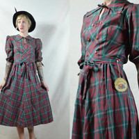 Vintage 1940's DEADSTOCK Fruit Of The Loom Red and Green Plaid Cotton Dress