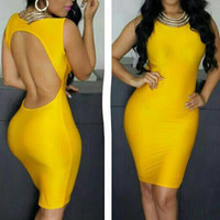 Solid Color Sleeveless Backless Bodycon Dress