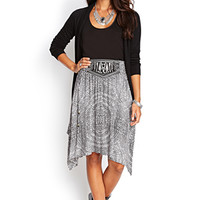 LOVE 21 Asymmetric Printed Woven Skirt Black/Beige