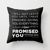 Genesis 28:15 Promised Throw Pillow by Pocket Fuel