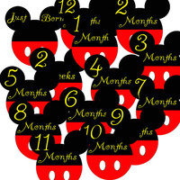 14 Mickey Mouse Ears Baby Boy Monthly Milestone Onesuit Stickers Newborn Shower Gift