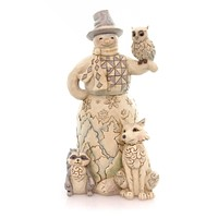 Jim Shore KINDRED SPIRITS FIGURINE Polyresin Snowman Woof Owl Racoon 4053688