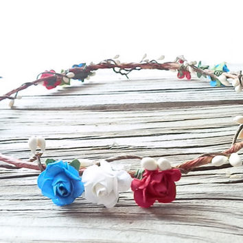 Patriotic Flower Crown, Floral Halo, Red white and blue headband, American Flag, American Flag Headband, Flower crown halo, Rose Crown