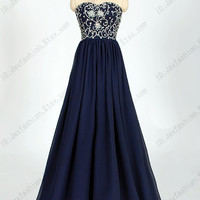 Stock Made Beaded Bodice Navy Chiffon Prom Dress/ Long Homecoming Dress/ Formal Dress/Cheap dress/Party Dress/ celebrity Dress by wish dress