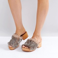 Free People Faux Fur Clog at asos.com