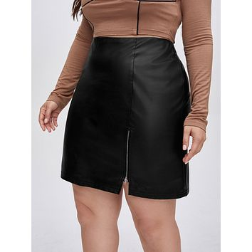 SHEIN Plus Zipper Hem PU Leather Skirt