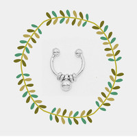 Small Silver Fake Septum Piercing, Tiny Faux Nose Ring