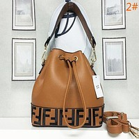FENDI New fashion letter leather handbag bucket bag shoulder bag satchel women