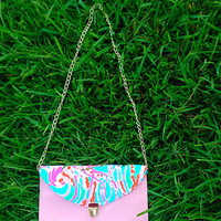 Custom Lilly Pulitzer Jellies Be Jammin' Envelope Clutch Crossbody Purse in Baby Pink