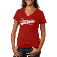 Temple Owls Ladies All-American Secondary Tri-Blend V-Neck T-Shirt - Cherry