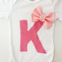 Initial Letter with Bow Onesuit, Baby Girl, Bow, Initial, Long Sleeve