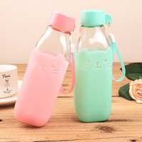 Candy Color Glass Bottle Silicone  Creative Mug Cup Sweet Bottles Eco-Friendly 420ml Camping Travel Use