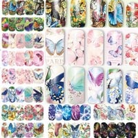 12 sheets water decal nail art nail sticker slider tattoo full Cover COLORFUL BUTTERFLIES Decals manicure supplies  A1297-1308