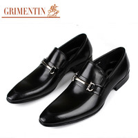GRIMENTIN fashion Italian mens dress shoes genuine leather casual black luxury brand designer dress shoes