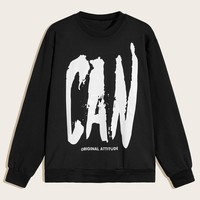 Men Letter Print Sweatshirt