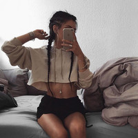 Cotton Long Sleeve Women Hoodie Blouse Crop Top Shirt Sweatshirt 7886