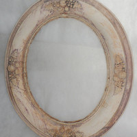 Vintage 1940's - 1950's ORNATE OVAL WOOD Picture Frame / Distressed / Bone Colored / Darker Distressed Shading / Shabby Chic / Wedding Frame