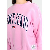 Tommy Jeans Fashion Casual Embroidery Logo Loose Crewneck Sweater Pullover Sweatshirt