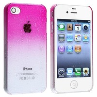 eForCity Snap-on Case compatible with Apple® iPhone® 4 / 4S , Clear Hot Pink Waterdrop