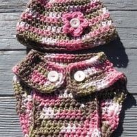 Crochet Diaper Cover and Beanie, Baby Girl Camouflage Soaker , Crochet Photo Prop