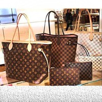 GHA LV Louis Vuitton Flor Women Girl Monogram Canvas Neverfull Two piece And Key pouch-Coin purse