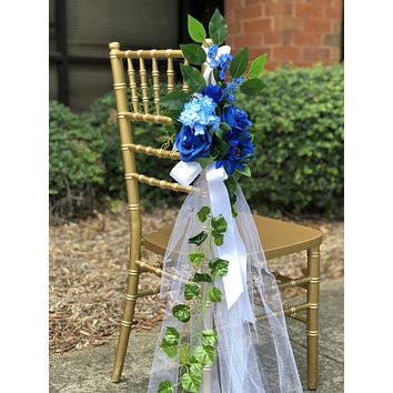Shades of Blue Pew Flowers with Tulle, Aisle Flowers, Church Aisle Flowers, Church Pew Flowers, Silk Pew Flowers, Chair Wedding Flowers