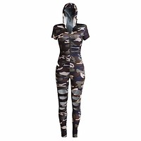 Camouflage Jumpsuit Romper Fitness Slim Holes Bodysuit Women Romper Be Stretchy Overalls Big Size Rompers Womens Jumpsuit