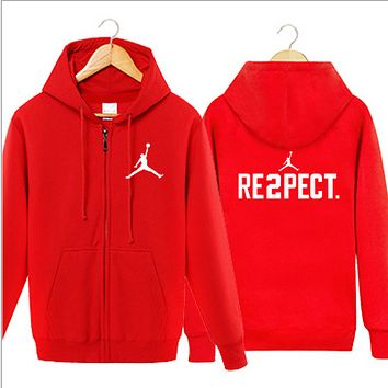 Jordan Autumn and winter youth leisure sports jacket sweater tide men and women hooded shirt plus cashmere cardigan Red