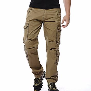 New men cargo pants mens Loose army tactical pants Multi-pocket trousers pantalon homme Big Size 46 Male Military Overalls