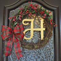 Christmas Wreath, Holiday Wreath, Decorations, Monogramed, Personalized, Plaid ribbon