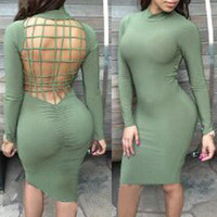 Green Strappy  Cut-out Back Long Sleeve Bodycon Midi Dress