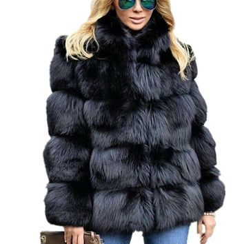Lisa Colly Women Winter Coat Jacket Luxury Faux Fox Fur Coat Slim Long sleeve collar coat Faux Fur Jacket Outwear Women Fake Fur